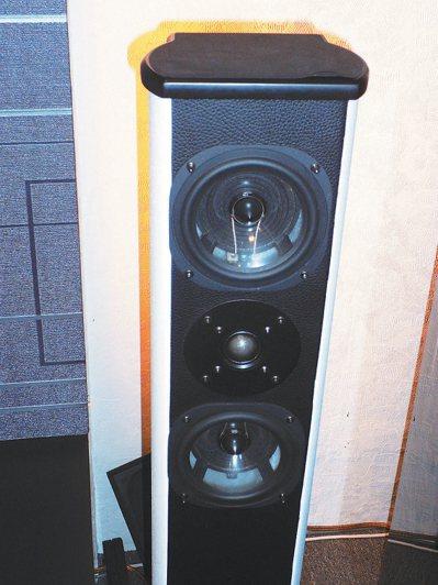 雅瑟音響獲得發明專利的複合塑脂喇叭音箱 。 記者張義宮/攝影