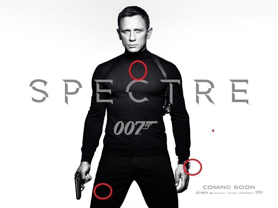 電影海報中,Craig身穿著Tom Ford貼身的夾克和長褲,手上戴著OMEGA...