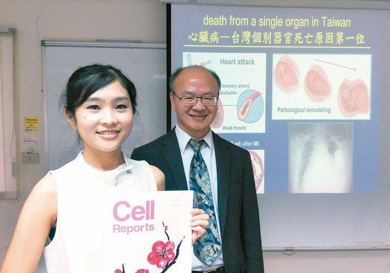 中研院生醫所研究員謝清河(右)和論文第一作者黃凱詩(左)團隊成功培養出成熟心肌細...