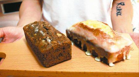 詹志賢棄高薪返鄉投入烘焙手作糕點;伯爵紅茶蛋糕(圖左)和老奶奶檸檬蛋糕(圖右)是...