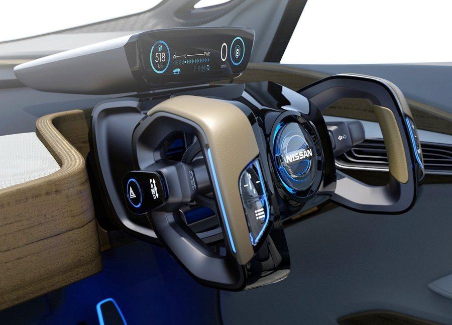 選擇手動開車,所有座位是固定向前的,方向盤也變成馬韁繩一般的造型。