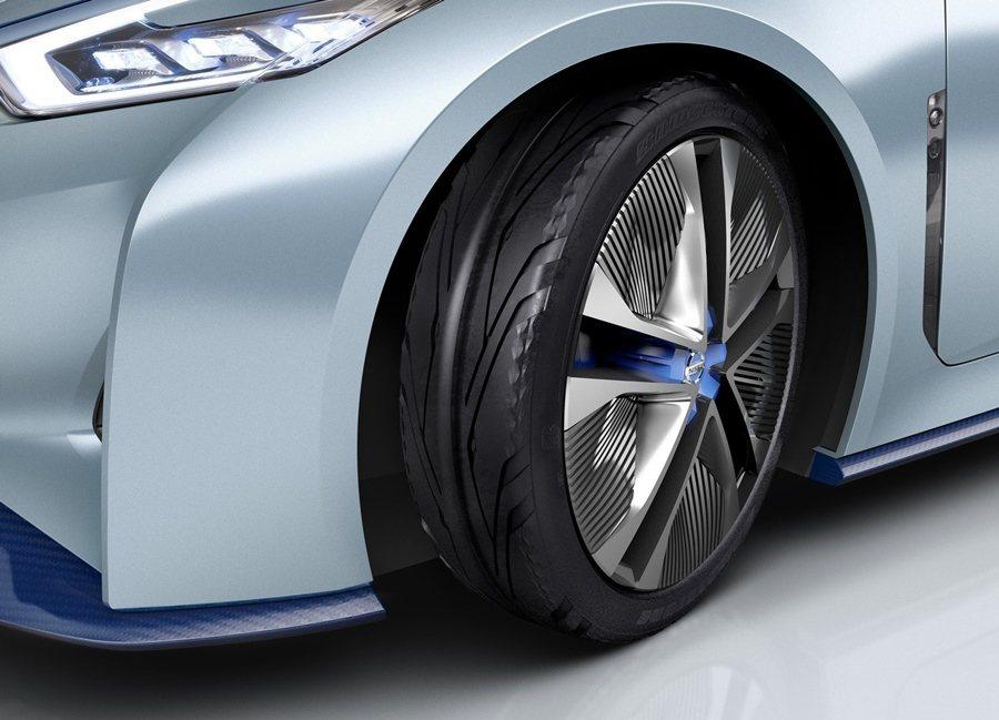 IDS Concept輪胎採用極薄的175規格,以減少滾動係數,同輪圈表面有小鰭...