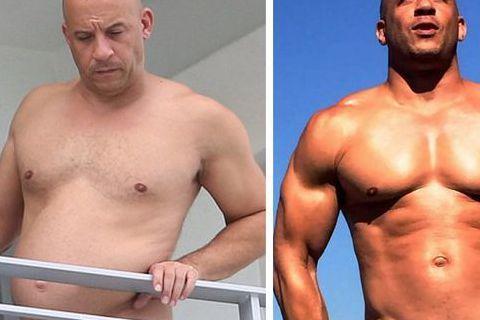 好萊塢男星馮迪索向來給人肌肉猛男的印象,不過最近他被拍到現身邁阿密(圖左),赤裸上身的他頂個大肚腩,讓人驚呼「腹肌去哪兒了」,還是馮迪索平時很放鬆,等要拍片時才會密集健身讓自己恢復猛肌男本色!而馮迪...