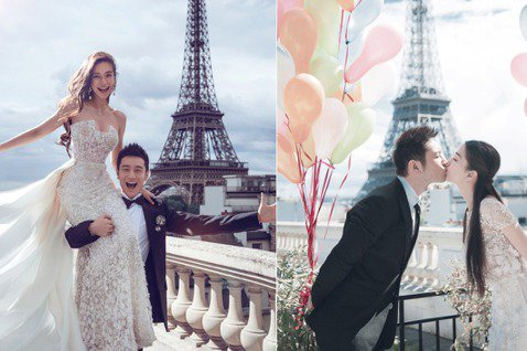 黃曉明與Angelababy(楊穎)今日大婚,黃曉明工作室今早曝光兩人新一組的婚紗照,包括有在巴黎鐵塔前親親、曉明霸氣以單手抱起Baby的照片,兩人笑的甜密。