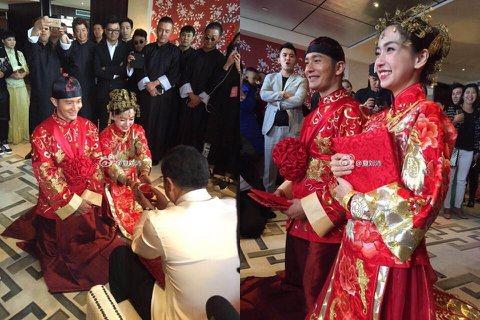 黃曉明與AngelaBaby10月8日大婚,兩人早上穿著紅色喜氣的中式禮服,向父母奉茶拜別。