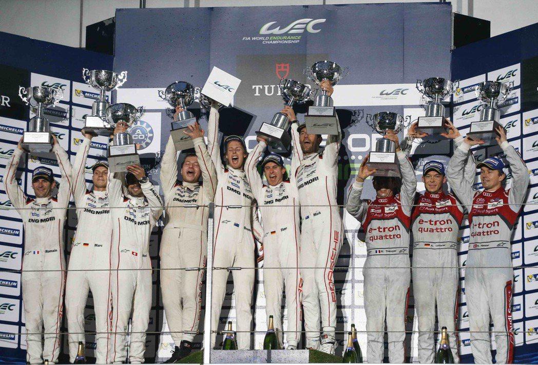 PORSCHE車隊所連續斬獲的第五場勝利,其中駕駛17號919 Hybrid賽車...