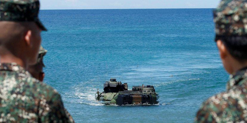 美國、菲律賓、日本在沖繩的聯合軍演。圖/美聯社
