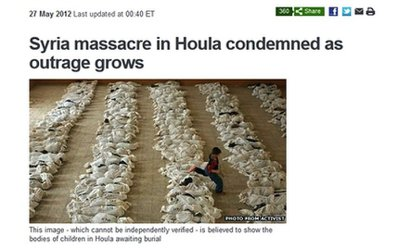 BBC失誤,誤用照片來報導網路上流傳的敘利亞屠殺。 圖/網站截圖