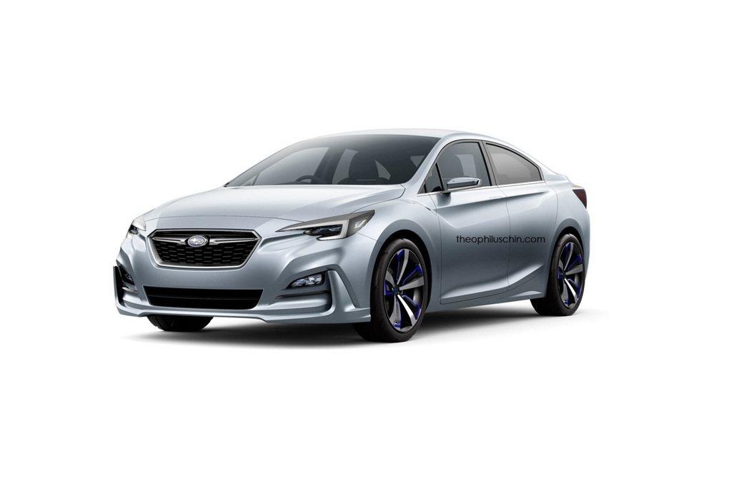全新Impreza四門版概念車,車頭造型大抵與五門車型設計一致。 摘自theop...
