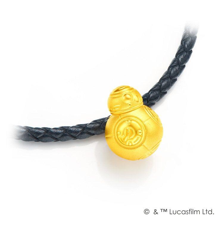 「星際大戰」系列BB-8黃金路路通串飾(含皮繩)