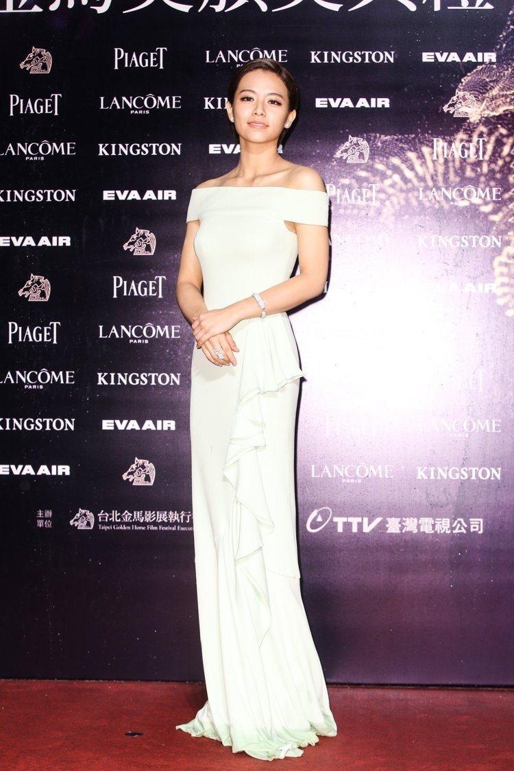 宋芸樺穿Alexander McQueen禮服,配戴卡地亞珠寶。圖/攝影中心