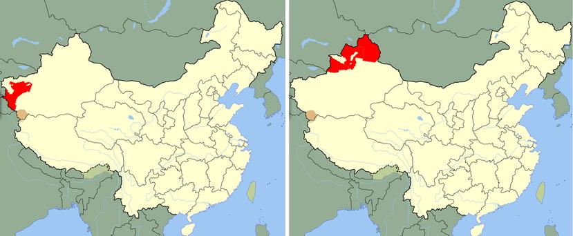 1930(左)跟1940(右)年代短暫的「東土國」的地理位置。圖/維基共享