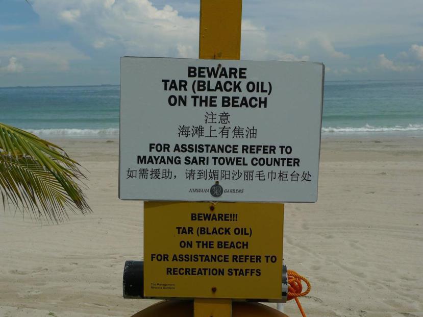 為什麼不在渡假村的海邊玩水呢?因為海灘上有船運造成的焦油汙染。 圖/作者萬宗綸提...
