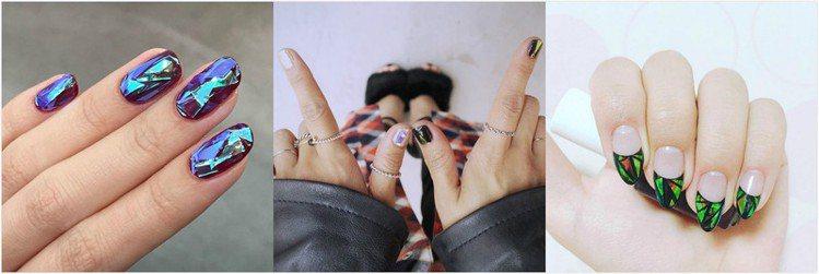 韓妞都瘋狂的玻璃鐳射光指彩 Glass Nail Art。圖/Bella儂儂