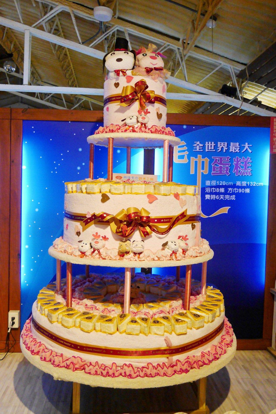 興隆毛巾觀光工廠展示一座全世界最大的毛巾蛋糕。 記者陳威任/攝影