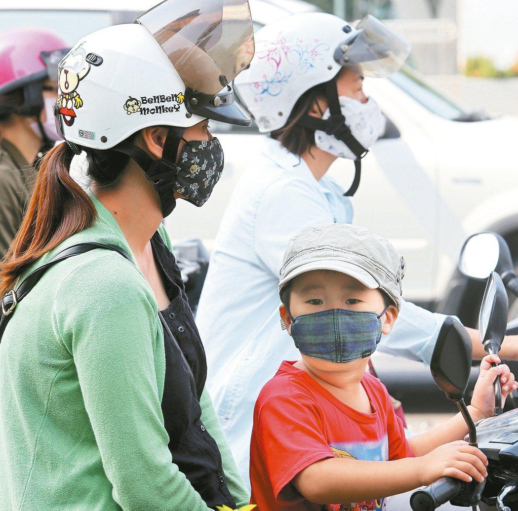空汙嚴重時,到戶外應戴上口罩。 報系資料照