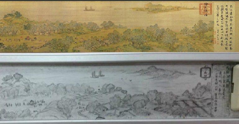 對照圖。上為故宮博物院收藏《清明上河圖》,下為學生塗鴉。