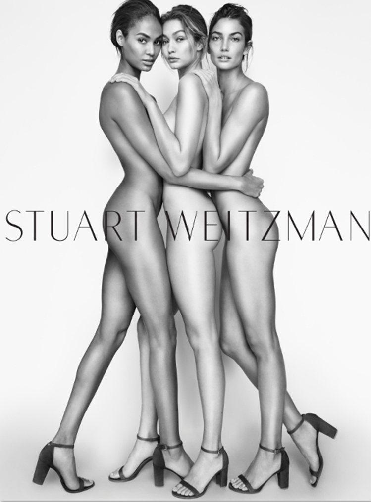 Joan Smalls (左)、Gigi Hadid (中)與 Lily Ald...
