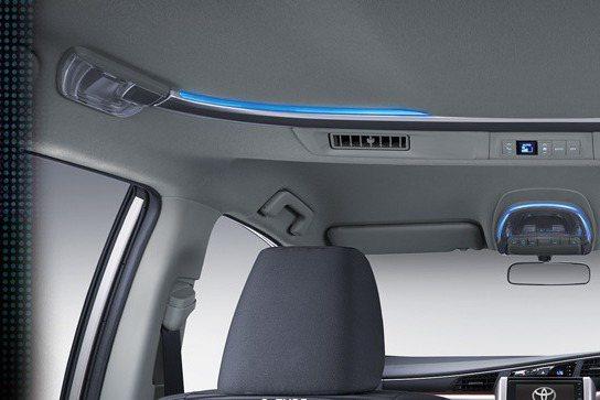 車頂導入氣氛燈,增添夜晚視覺效果。 摘自toyota.id