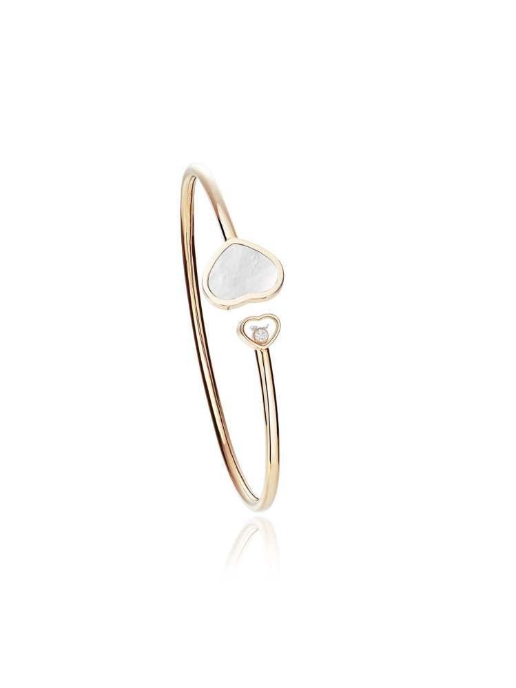 Happy Hearts系列手鐲,18K玫瑰金手鐲鑲嵌珍珠母貝與1顆滑動石。10...