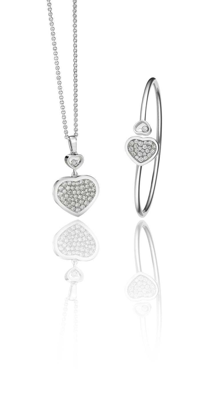 Happy Hearts系列18K白金鑽石項鍊(左,28萬6,000元)、鑽石手...