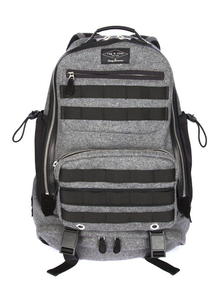 rag & bone 淺炭灰色異材質拼接後背包,價格22,500元。圖/rag ...