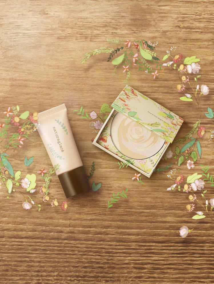耶誕限定的naturaglace香緹奶油聖誕底妝組與日本同步開賣。圖/natur...