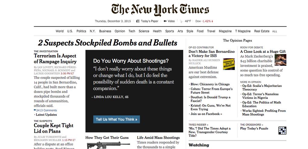 紐時加州槍擊留言置頂圖。 圖/擷自The New York times