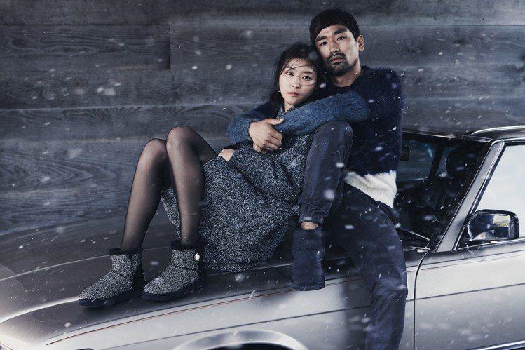 UGG雪靴以擁抱為主題,拍攝時尚形象圖。圖/UGG提供