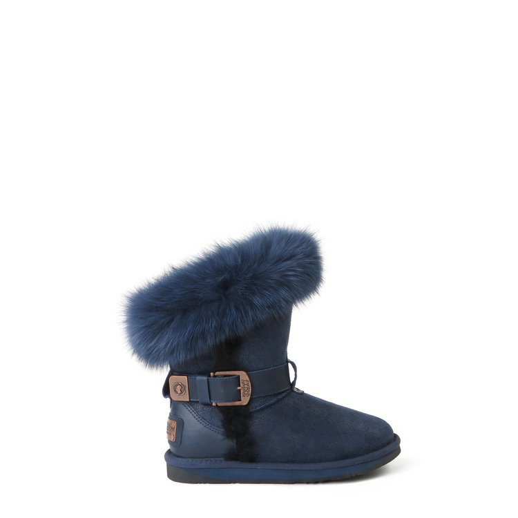 Ausatralia Luxe Collective深藍色狐狸毛環釦款羊毛短筒雪...