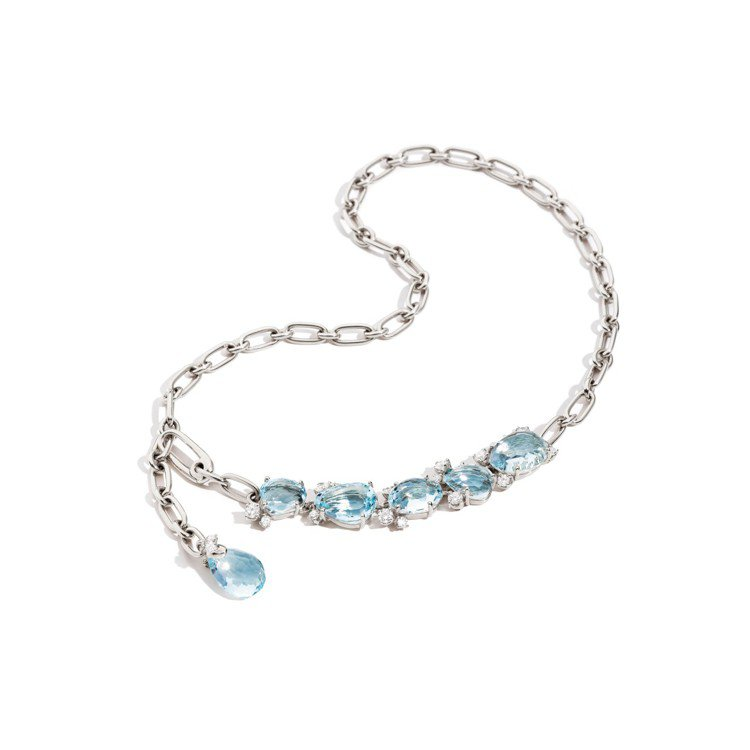 Pomellato Bahia系列白K金鑲海水藍寶與白鑽項鍊172萬2,000元...