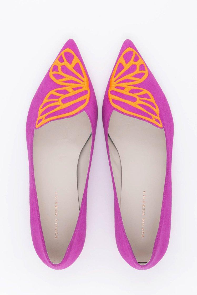 Sophia Webster霓虹蝴蝶平底鞋,售價12580元。圖/初衣食午提供