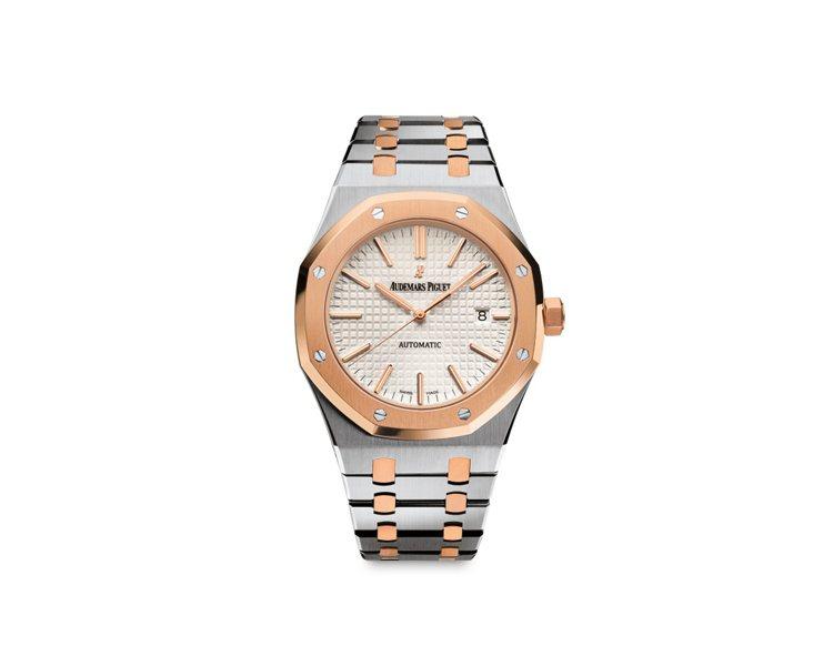 皇家橡樹系列,41mm雙色自動上鍊腕表,自動上鍊機芯,81萬8,000元。圖/愛...