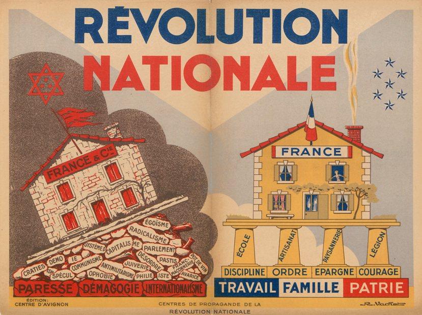 維琪法國的反猶政治文宣,可以看到其標榜的勞動、家庭與祖國等價值-與法國社會黨如出...