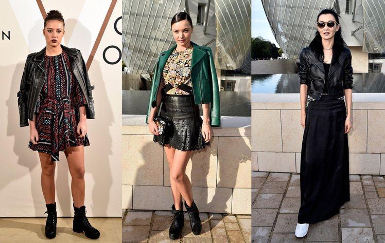 皮夾克+裙裝的造型,其實就是最簡單的混搭哲學。圖/LV提供