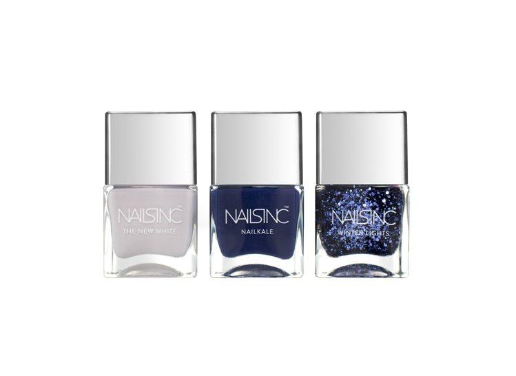Nails Inc.冬季紳藍組合有低調冷豔氣質。圖/Nails Inc.提供