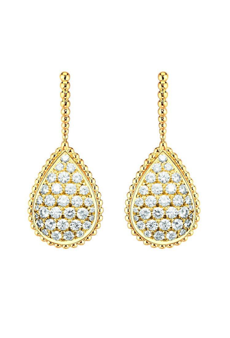 BOUCHERON Serpent Boheme黃K金系列耳環,64 顆鑽石約2...