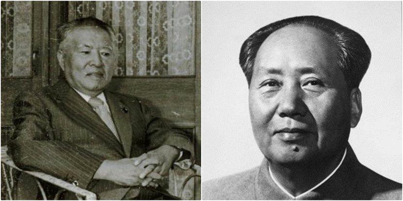 1966年日本共產黨領導人宮本顯治(左)訪中與毛澤東(右)見面,攪翻了留日華人學...