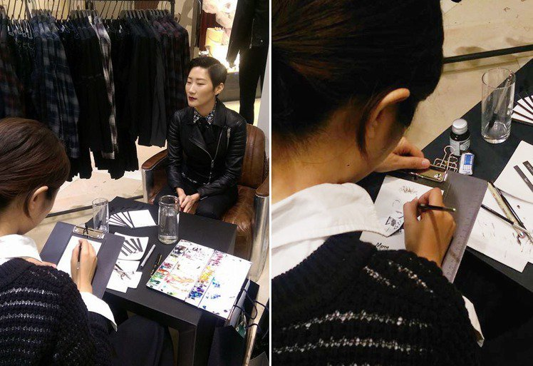 AllSaints 也特別請到插畫家 Jing 秘密小事到場為與會來賓打造速寫畫...