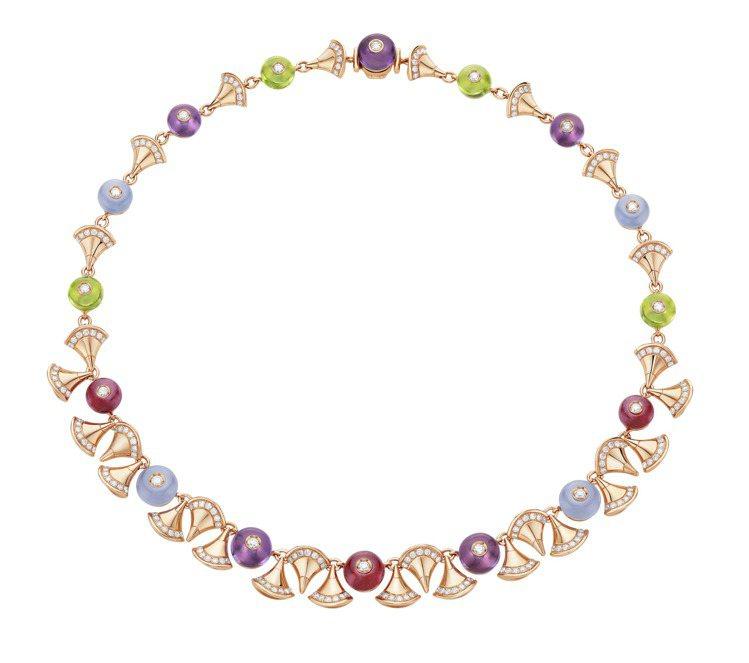 DIVA玫瑰金彩寶項鍊,161萬元。圖╱寶格麗提供