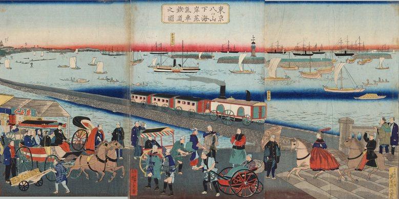 日本政府在1872年於東京及橫濱之間開闢了全國第一條鐵路。 圖/歌川国政(東京都立圖書館)