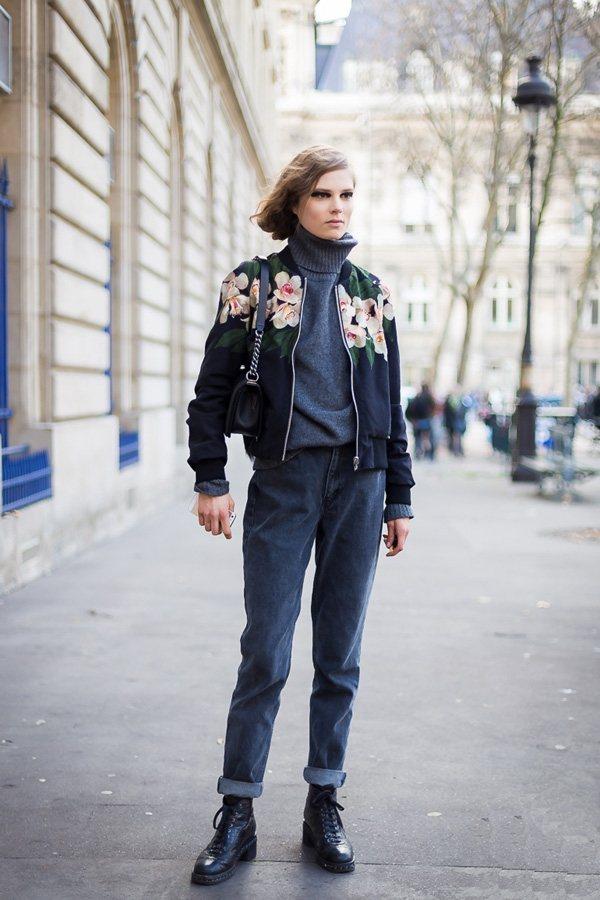 高領毛衣與休閒短夾克,打造朋克感十足的街頭look。圖文:悅己網