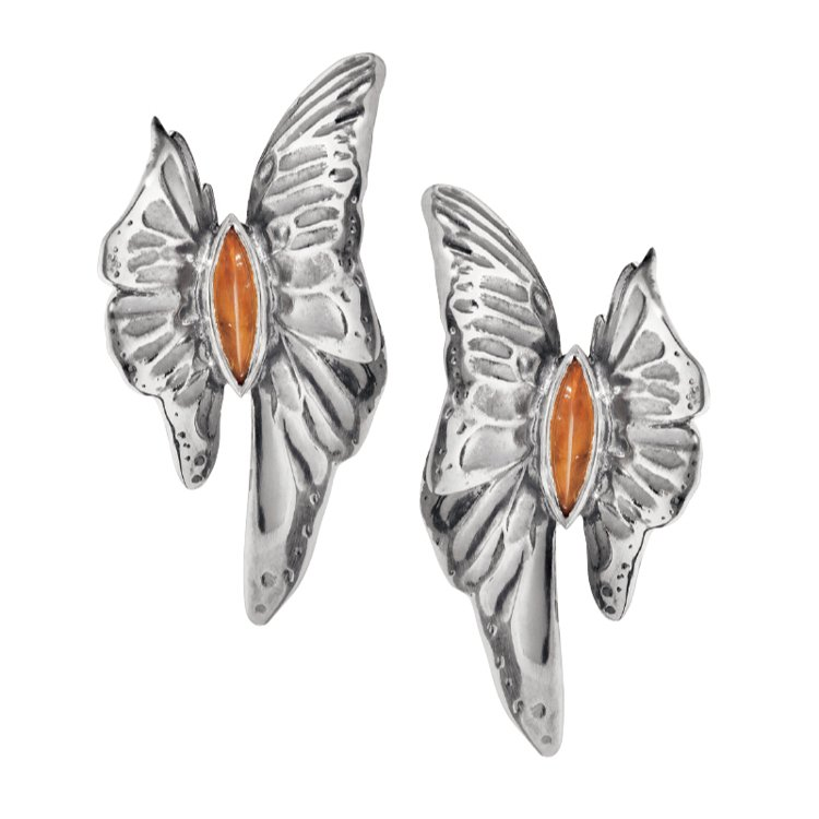 The Askill Collection純銀彩寶蝴蝶系列耳環,鑲嵌黃水晶。 圖...