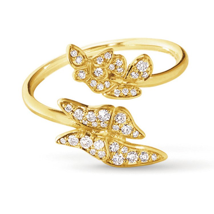 The Askill Collection 18K金鑲鑽蝴蝶系列戒指。 圖/珠寶...