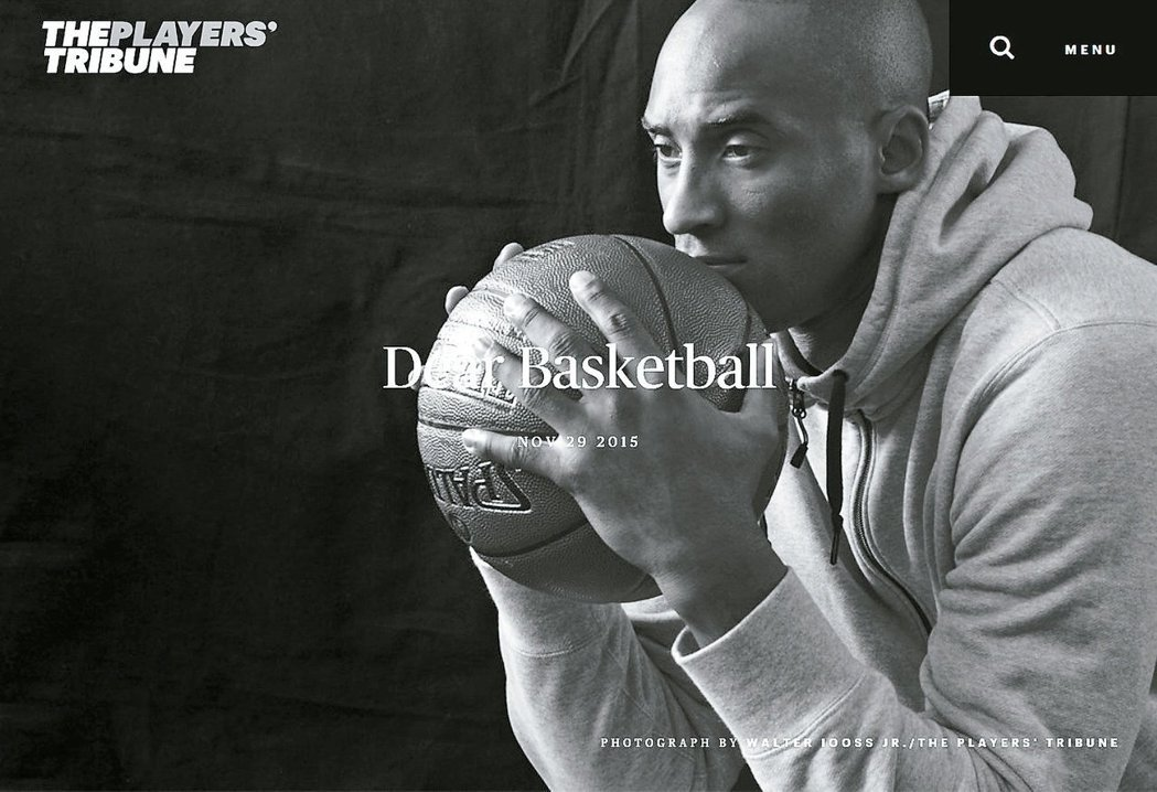 布萊恩在PLYAERS' TRIBUNE發表「親愛的籃球」的告別球壇詩作,表明本...