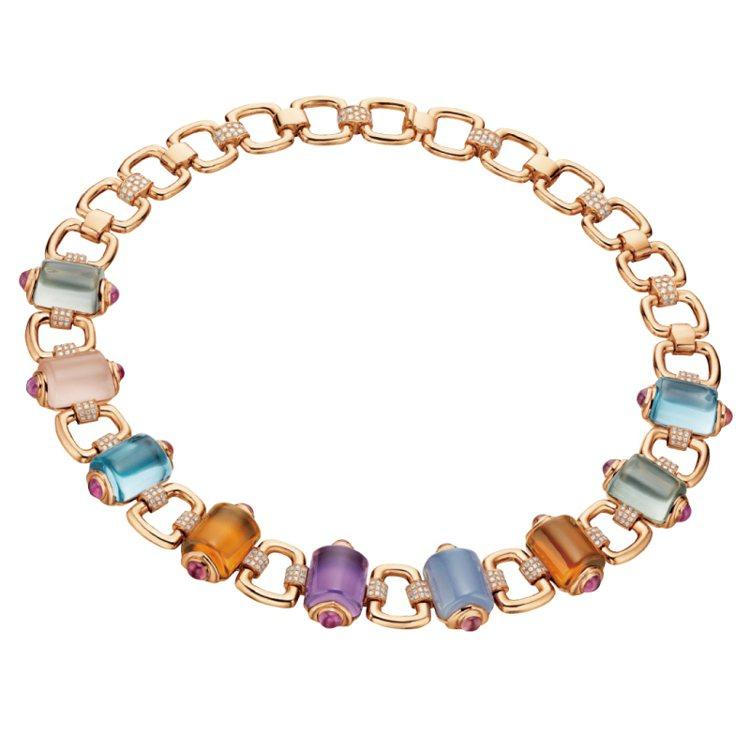 BVLGARI Secret Garden系列項鍊,鑲嵌藍色托帕石、紫水晶等有色...