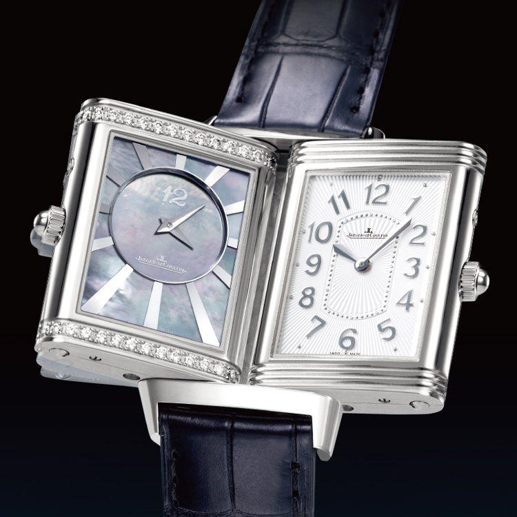 積家大型超薄女裝雙面雙時區翻轉腕錶。 圖/珠寶之星