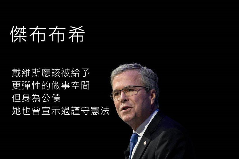 傑布(Jeb Bush)最初持「中立」立場:雖然公事公辦但也要有點彈性;他後來卻...