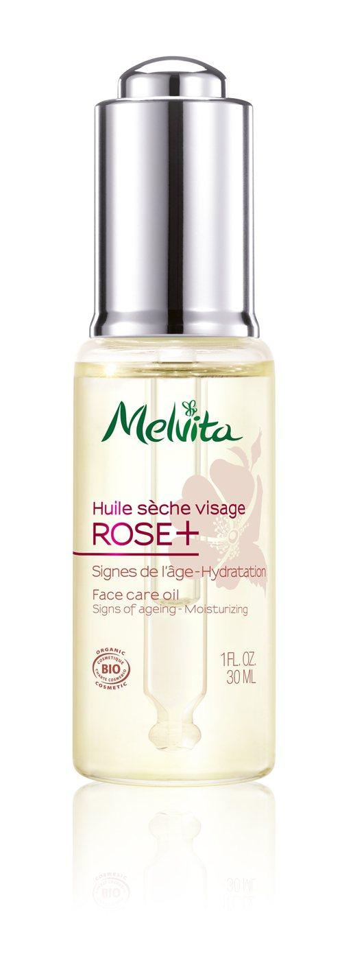 Melvita玫瑰果極效抗皺輕萃油,以高海拔的智利玫瑰果油、葵花籽 油等,結合海...