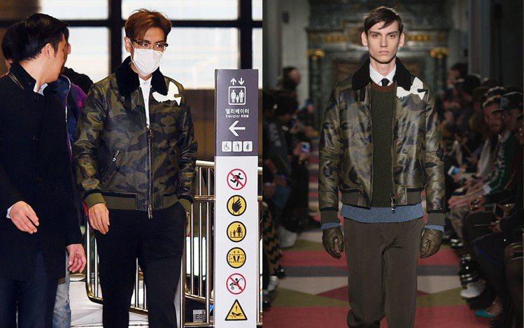 BIGBANG 成員 T.O.P.現身機場時則選擇VALENTINO經典迷彩皮革...
